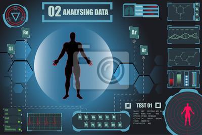 Elementy plansza HUD człowieka. Wyświetl zestaw wirtualnych elementów interfejsu. Badanie tła ludzkiego zdrowia. DNK