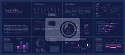 Elementy szablony prezentacji na ciemnym tle. Infografiki wektor. Użyj w prezentacji, ulotce i ulotce, raporcie korporacyjnym, marketingu, reklamie, raporcie rocznym, baneru.