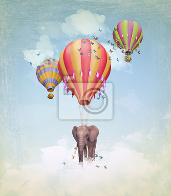 Obraz Elephant w niebo z balonów. Ilustracja