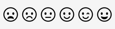 Obraz Emoticons set. Emoji faces collection. Emojis flat style. Happy and sad emoji. Line smiley face - stock vector.
