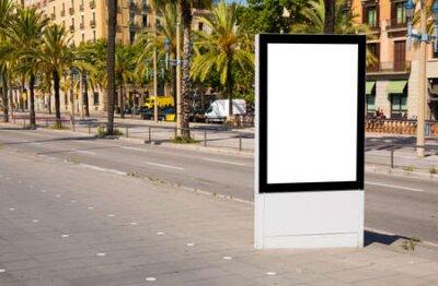 Obraz Empty advertising stand mockup on street