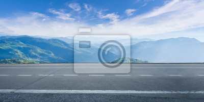 Obraz Empty highway asphalt road and beautiful sky mountain landscape