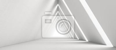 Obraz Empty Long Light Corridor. Modern white background. Futuristic Sci-Fi Triangle Tunnel. 3D Rendering