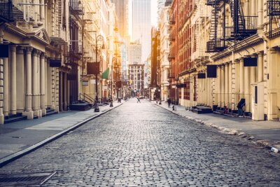 Obraz Empty street at sunset time in SoHo district in Manhattan, New York