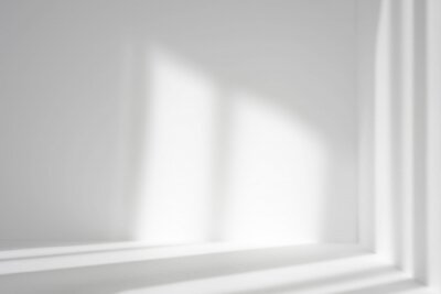 Obraz Empty white corner. Abstract studio background for product presentation. 3d room with shadows of window. Minimalistic space concept with blurred backdrop.