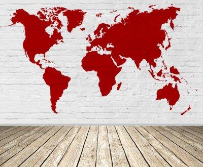 Obraz emty pokój z mapy świata