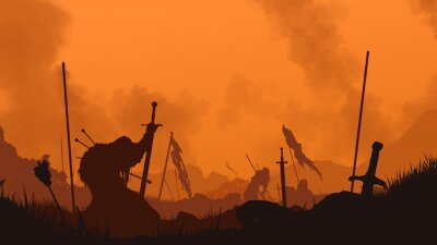 Obraz End of the battle. The fallen warrior holds a sword in his hand. A bloody sunset is behind him. The weapon is stuck in the ground. Smoke rises into the sky. 2D illustration.
