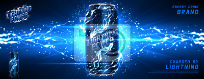 Obraz Energy drink ads background. Vector illustration with energy drink can, bright lightnings and shining thunderstorms. Realistic 3d illustration.
