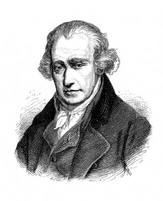 Obraz Engraving portrait of James Watt (1736–1819)  Scottish inventor, mechanical engineer and chemist, famous for his steam engine of improved power and efficiency