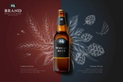Obraz Engraving premium beer ad