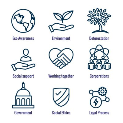 Obraz Environment or Environmental and Social Government and Governance Icon Set for ESG