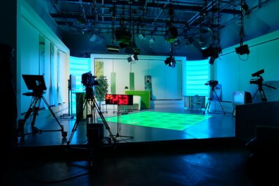 Obraz equipment of a television studio in blue lights