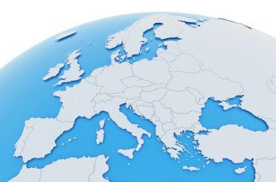 Obraz Erde Europa Länder - hellgrau blau
