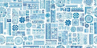 Obraz Ethnic blue handmade ornament, seamless pattern