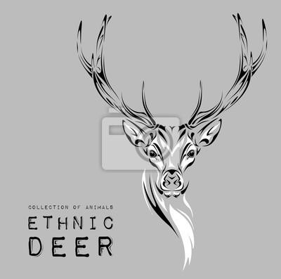 Obraz Etnicznych Czarny Głowa Jelenia Na Białym Tle Totem Tatuażu
