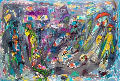 Obraz Etnografia. Khaliev MS Czczony Artysta Tatarstanu. Tekstury tła. Abstrakcyjny obraz namalowany w kolorach karnawałowych. Portret mężczyzny. malarz portret człowieka