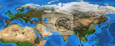Eurazja - mapa wysokiej rozdzielczości Europy i Azji