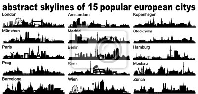 Obraz Europa European Silhouette Skyline