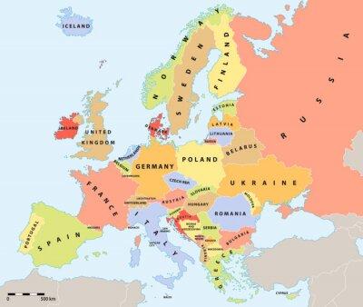 Obraz Europa mapa polityczna 2015 z etykietami i skali mapy.