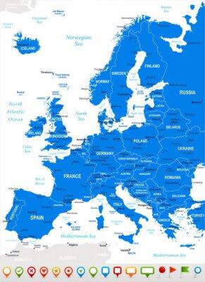 Obraz Europa - mapy i nawigacja icons.Highly Wektor szczegółowe illustration.Image kolejnych warstw: zawiera kontury ziemi, nazwy krajów i gruntów, nazwy miast, nazw obiektów, ikon nawigacyjnych wody.