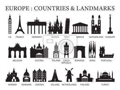 Obraz Europe Countries Landmarks Silhouette