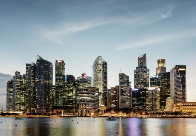 Evening view of Marina Bay and downtown of Singapore