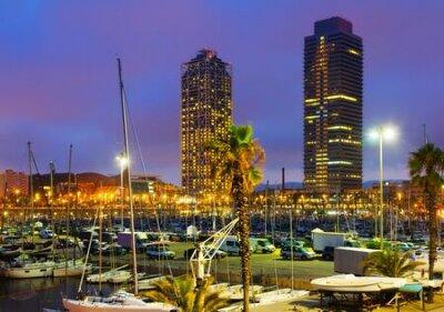 Obraz Evening view of Port  in Barcelona. Catalonia,  Spain