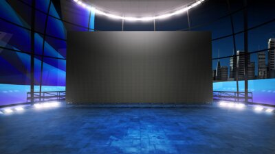 Obraz Event arena studio backdrop with a big videowall . Ideal for tv shows, presentations or events. A 3D rendering, suitable on VR tracking system sets, with green screen