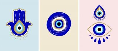 Obraz Evil eye or Turkish eye symbols and icons set. Modern amulet design and home decor idea
