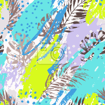 Exotic leaves on abstract background.