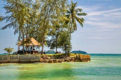 Exotic tropical island under blue sky