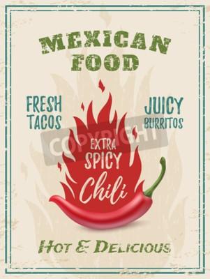 Obraz Extra ostre chili papieru z ogniem, na tle grunge. Szablon dla restauracji, kawiarni, baru lub fast food plakatu, broszury lub ulotki. ilustracji wektorowych.