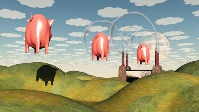Obraz Fabryka i świnia