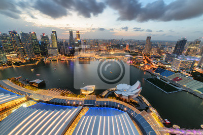 Fabulous aerial view of Marina Bay and skyscrapers, Singapore