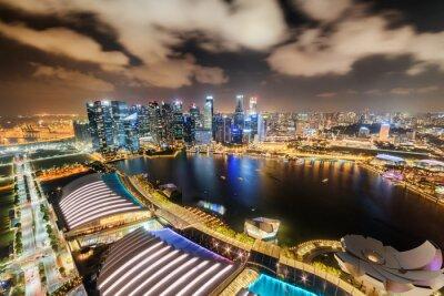Fabulous night aerial view of Marina Bay in Singapore