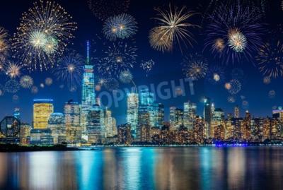 Obraz Fajerwerki podczas Sylwestra z New York City Cityscape, USA