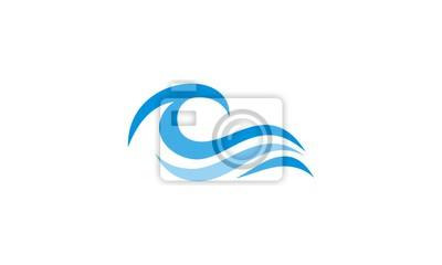 Obraz fal oceanicznych abstrakcyjne wody logo