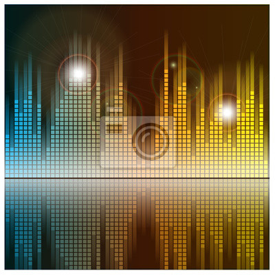 Obraz Fale dźwiękowe i muzyka w tle. Technologia korektor dźwięku