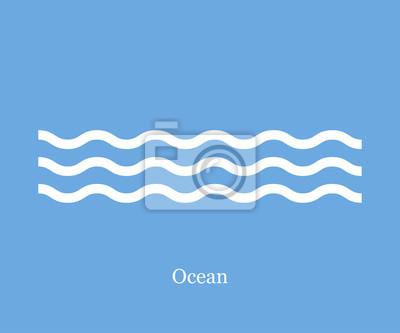 Obraz Fale morskie ikony na niebieskim tle