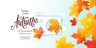 Obraz Fall horizontal banner with 3D colored maple leaves and text Autumn. Vector background with realistic falling foliage, inscription and effect bokeh. Seasonal template for flyers with special offers.