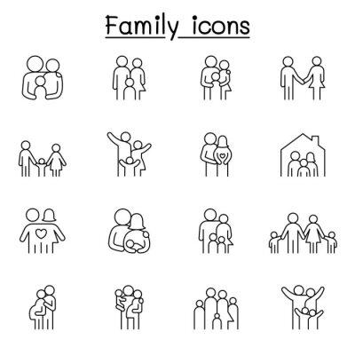 Obraz Family icon set in thin line style