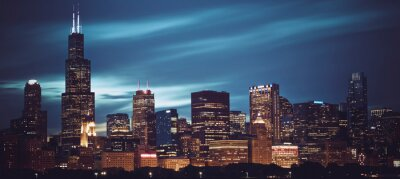 Obraz Famous panoramic view of Chicago skyline by night