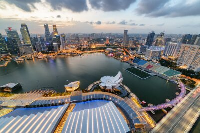 Fantastic aerial view of Marina Bay and skyscrapers, Singapore