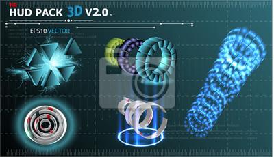 Fantastyczne tło abstrakcyjne z różnych elementów 3d zestawu HUD. Duży zestaw różnych elementów HUD. Wykresy, wskaźniki przełączników HUD i różne obiekty geometryczne