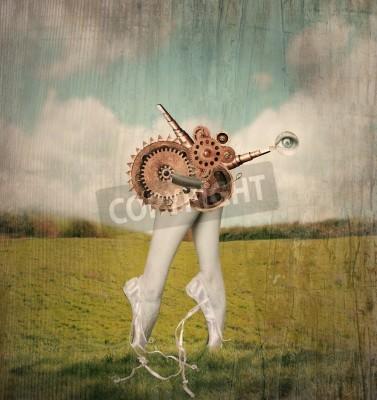 Obraz Fantasy artystyczny obraz, które stanowią stopy na palcach i cielęta z klasycznego ballerina w pantofle balet z surrealistycznej mechanizm przekładni, który ma przenieść je w surrealistycznej tle