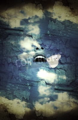Obraz Fantasy surrealistic imagine of a human open mouth in the sky with a butterfly