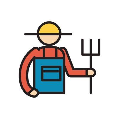 Obraz farmer with rake line and fill style icon vector design