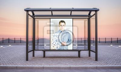 Obraz fashion sale billboard on bus stop kiosk