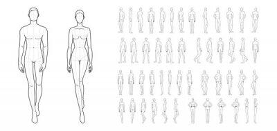 Obraz Fashion template of 50 men and women.