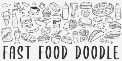 Obraz Fast Food Doodle Line Art Illustration. Hand Drawn Vector Clip Art. Banner Set Logos.